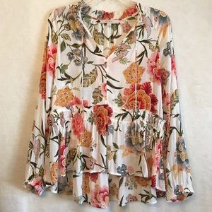 LOFT Poppy Bloom Floral Tie Long Sleeve Blouse M